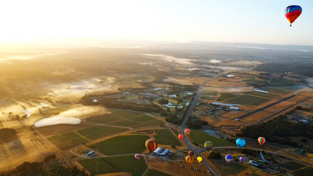 several hot air balloons float high above landscape in Hunter Valley