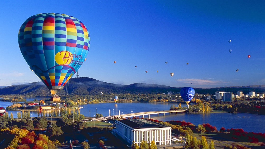 Show item 5 of 5. Hot air balloons drifting over Canberra.