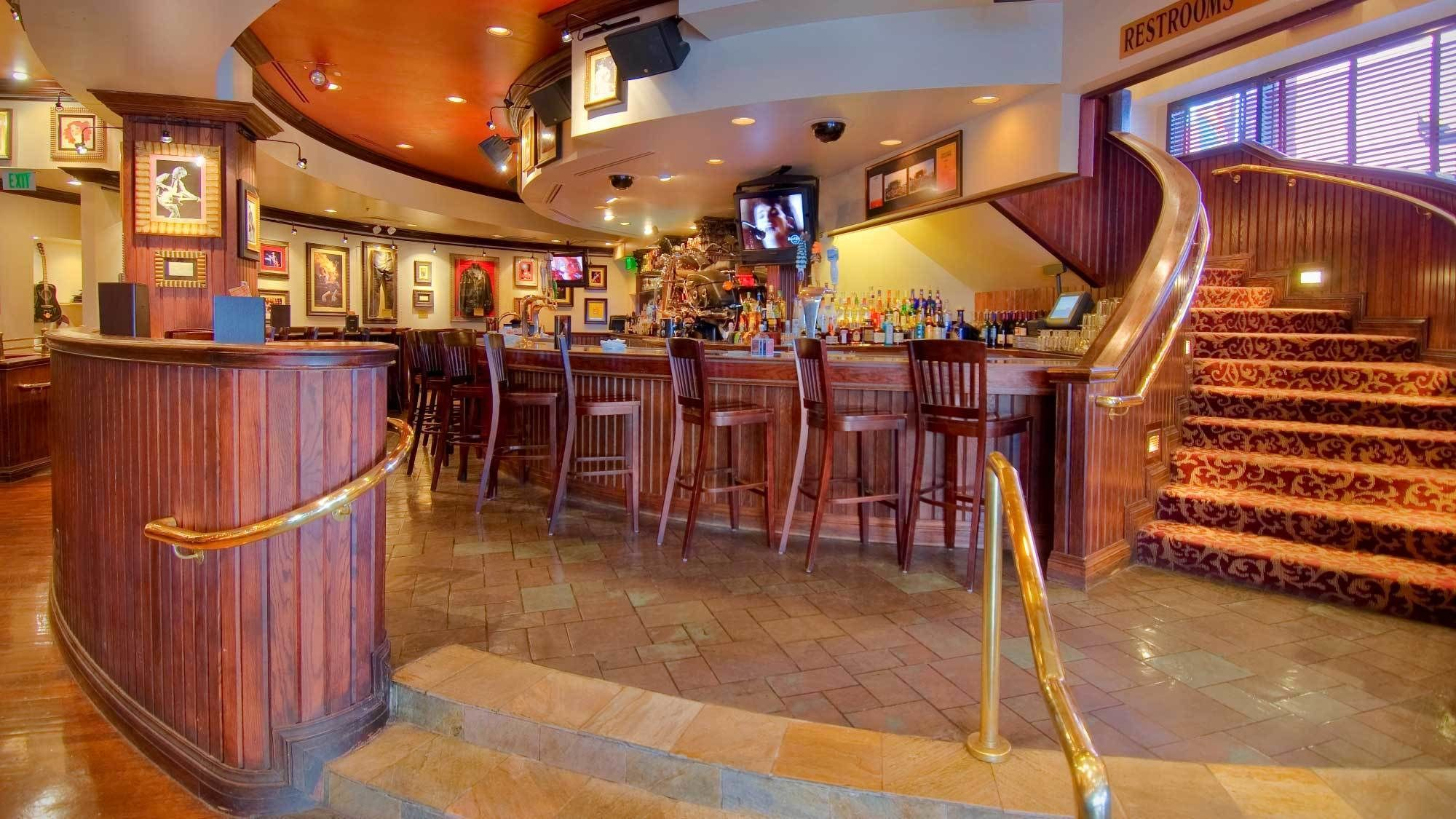 Bar seating at the Hard Rock Cafe in Denver
