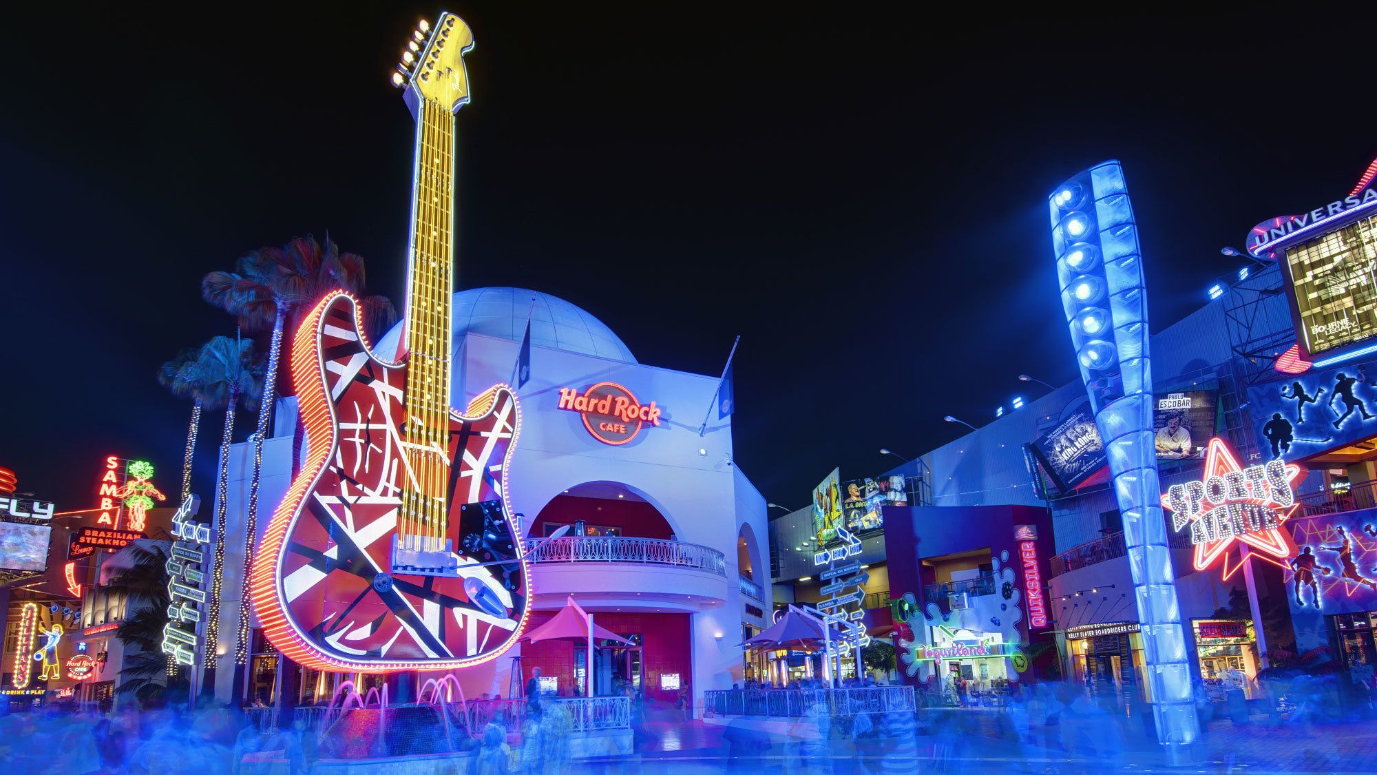 Exterior of the Hard Rock Cafe in Hollywood.