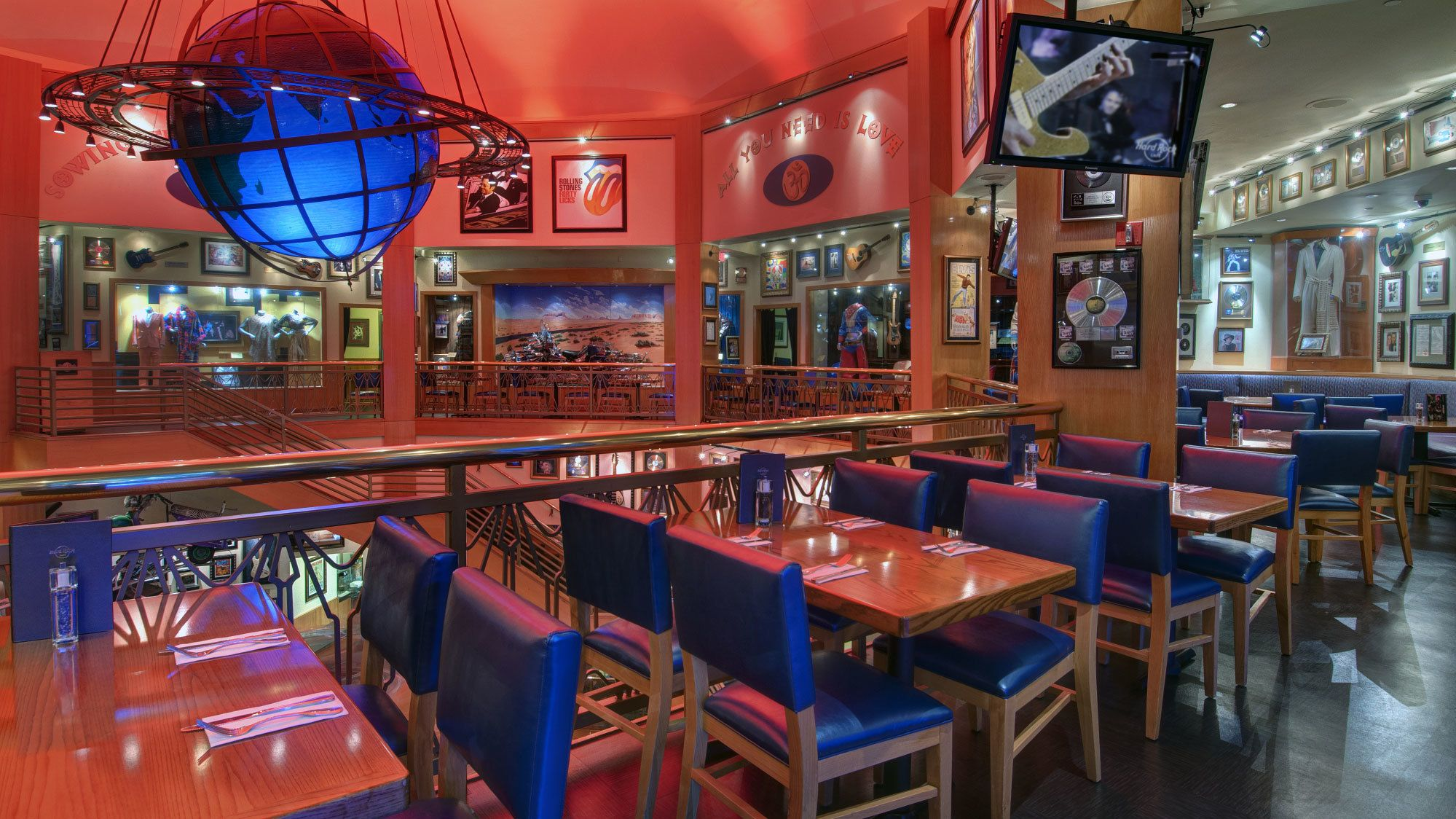 Tables and seating on the upper floor of the Hard Rock Cafe, Hollywood.