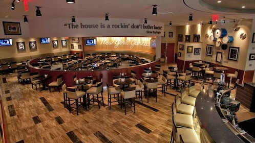 Seating inside the Yankee Stadium Hard Rock Cafe in New York