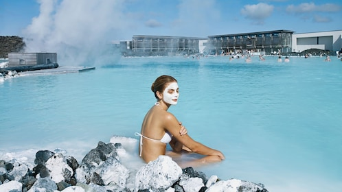 Woman relaxing in the Blue Lagoon in Iceland