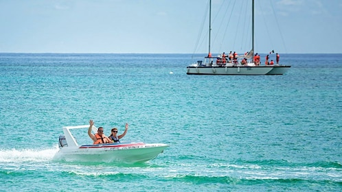 Two boats of people in Cancun