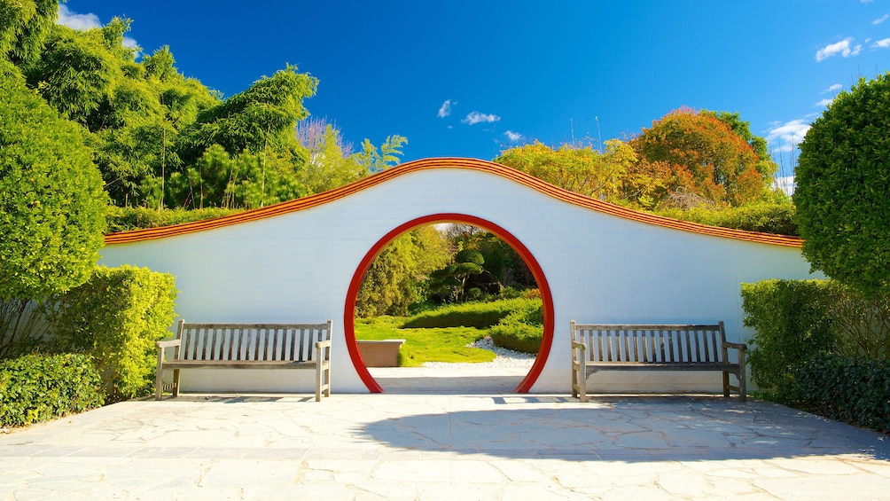 Circle entrance in wall to garden in Hunter Valley