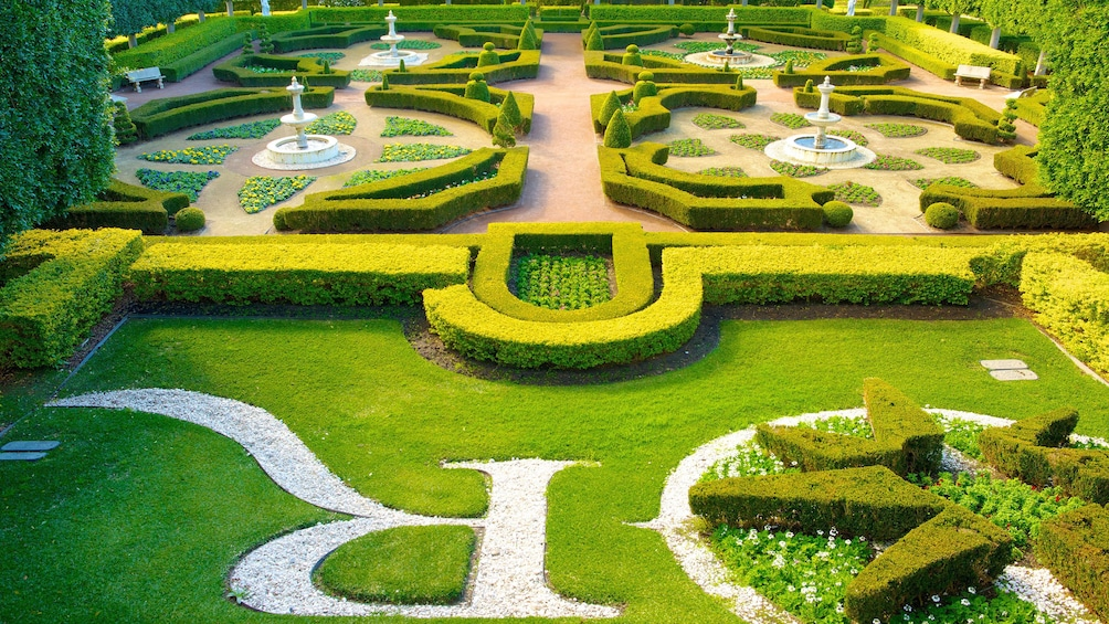 View of complex garden in Hunter Valley