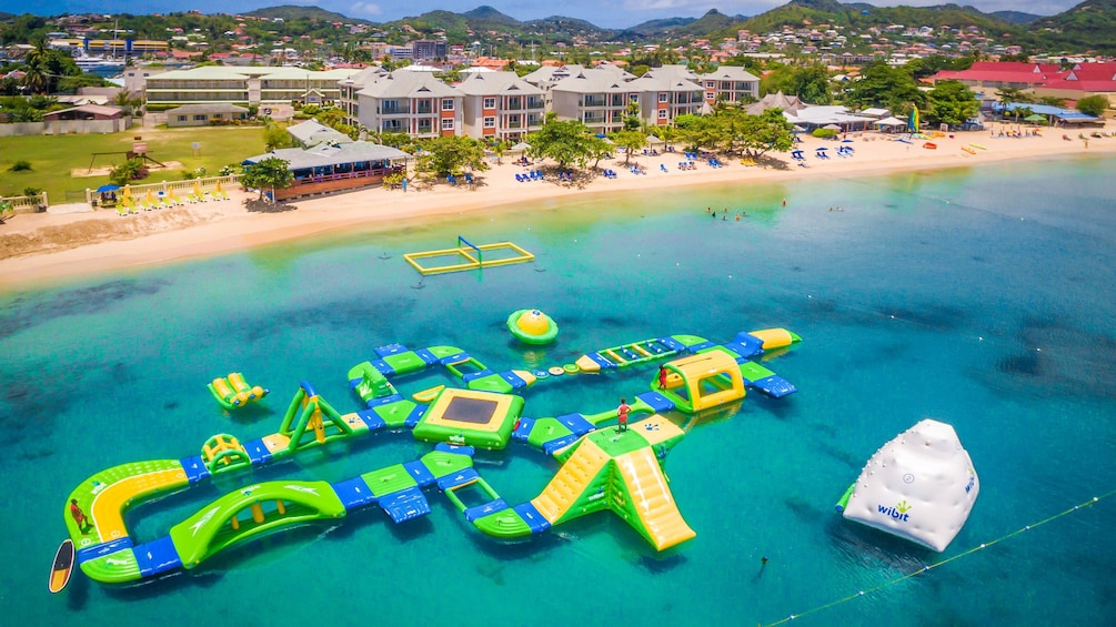 Show item 4 of 10. Aerial view of Splash Island Water Park in St Lucia