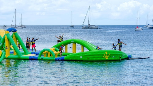 Floating rafts at Splash Island Water Park in St Lucia