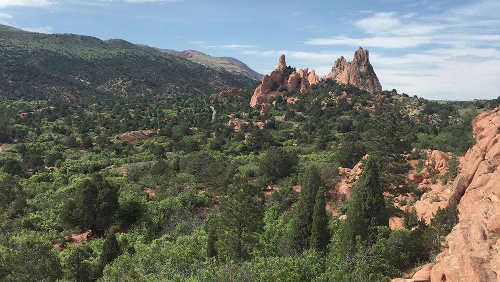 Landscape view of Garden of the Gods in Colorado