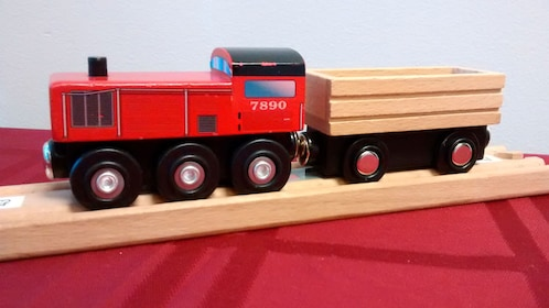 A wooden train
