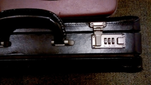 A briefcase with a combination lock