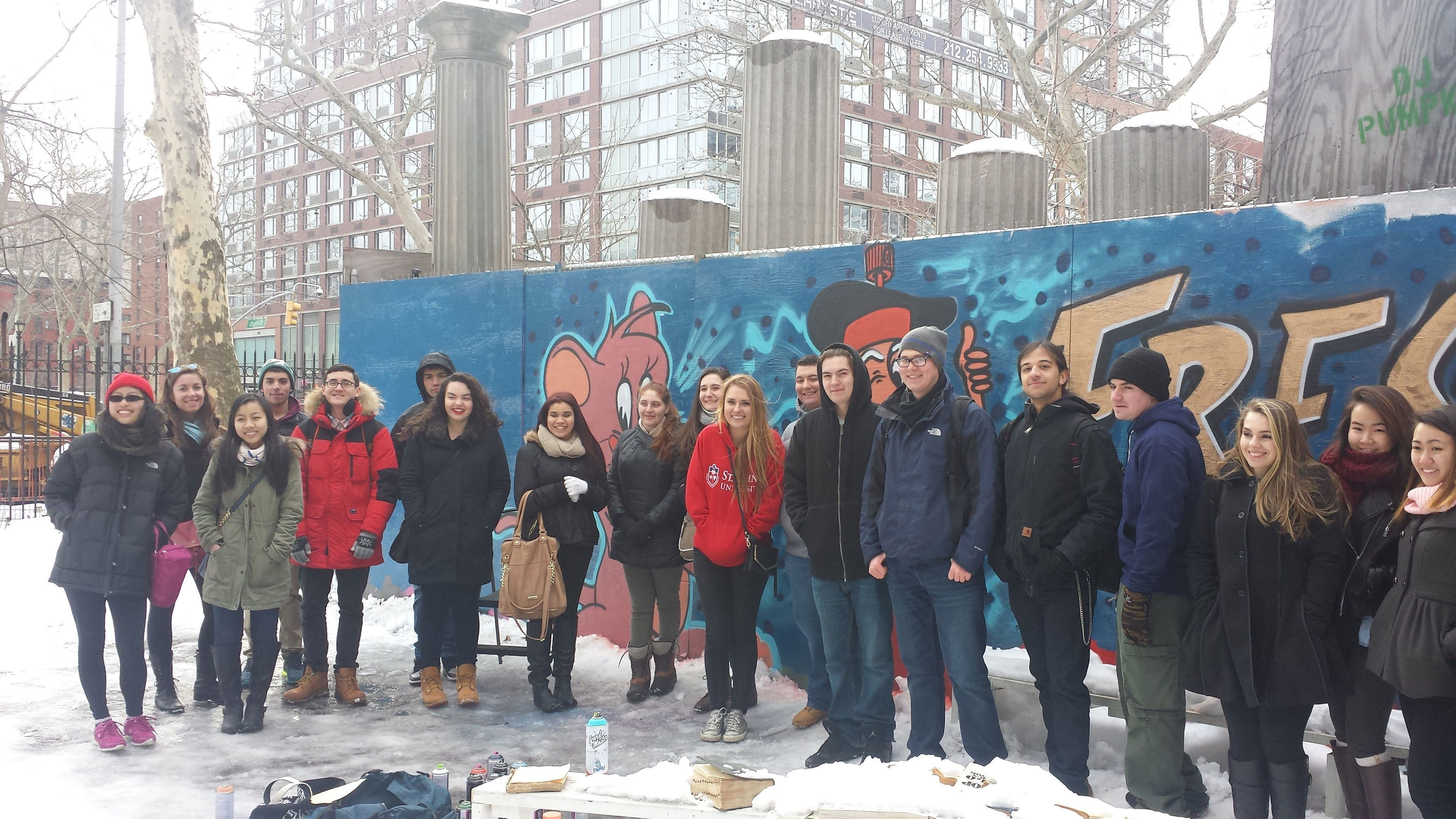 A group in a Graffiti tour in New York