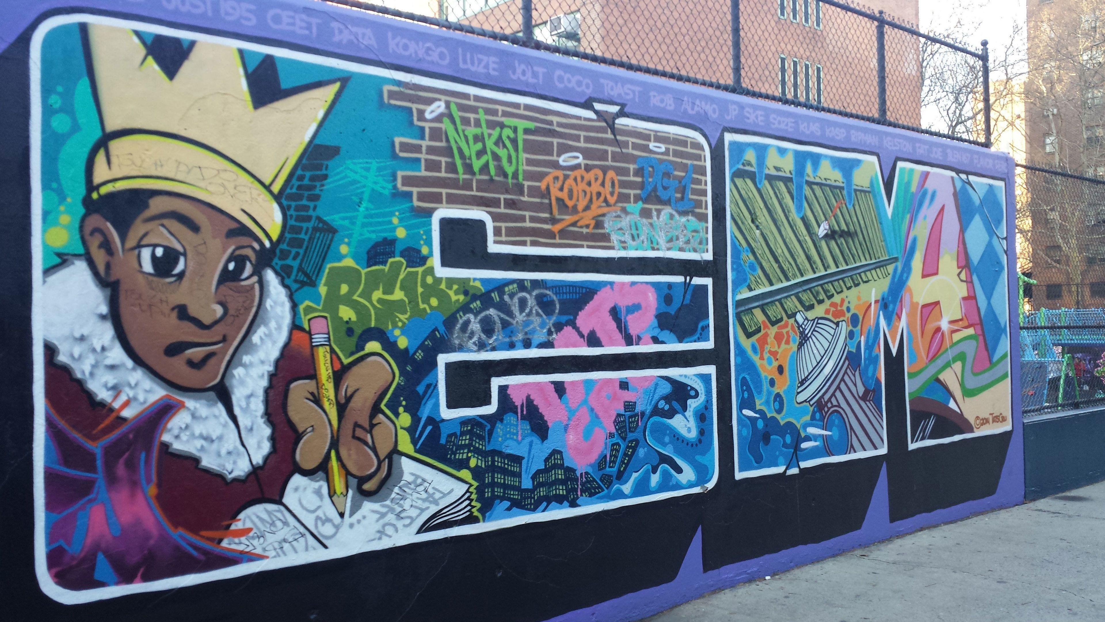 New York graffiti covered walls