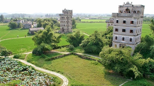 Serene landscape day view of kaiping Diaolou in China