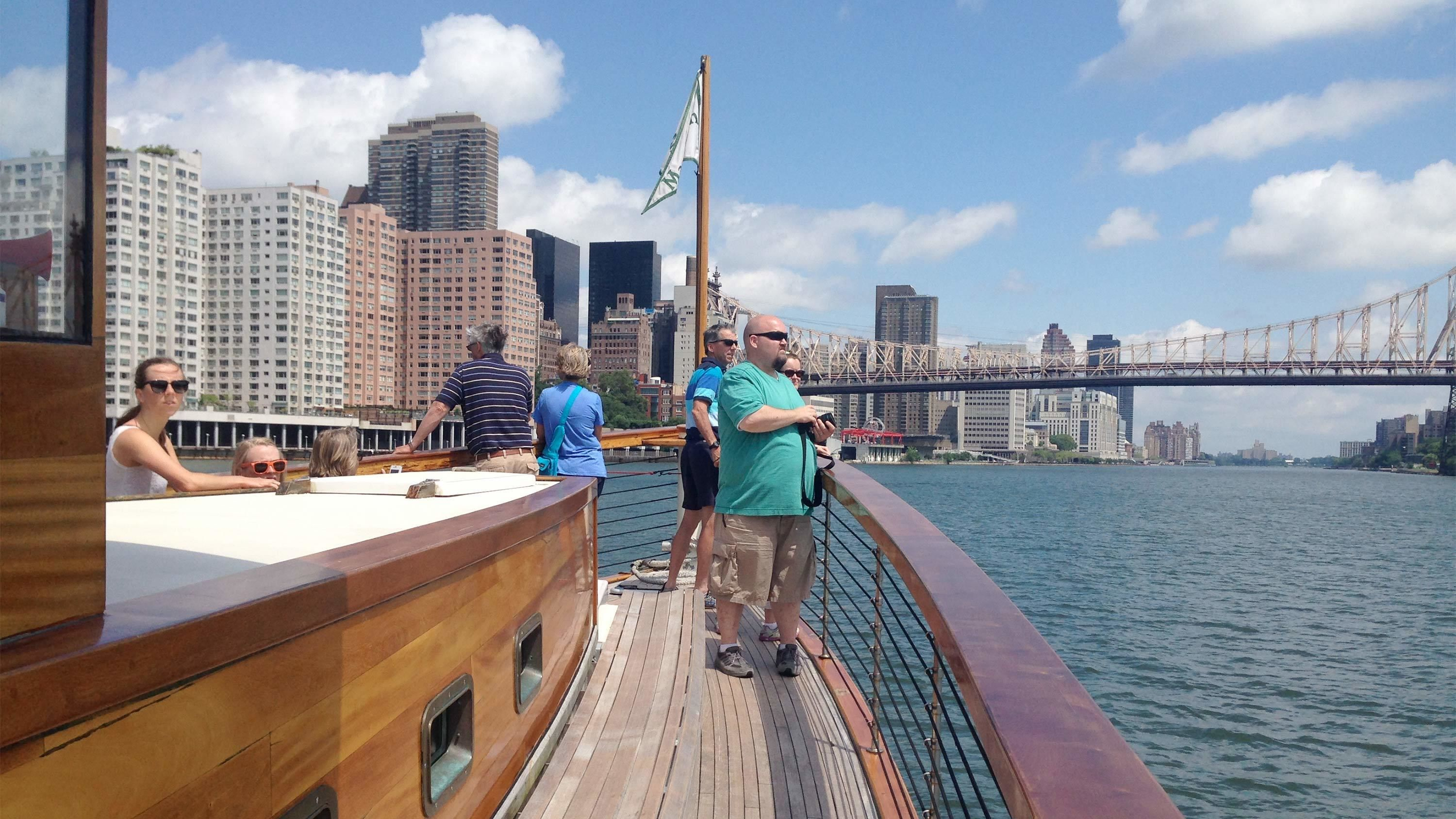 Guests aboard the scenic Manhattan cruise