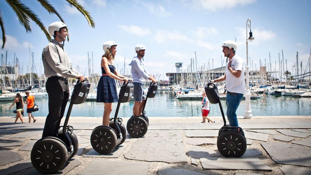 Segway group at the marina in Barcelona