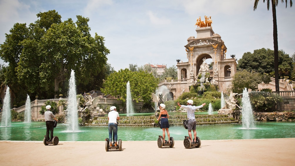 Segway group at a large fountain in Barcelona