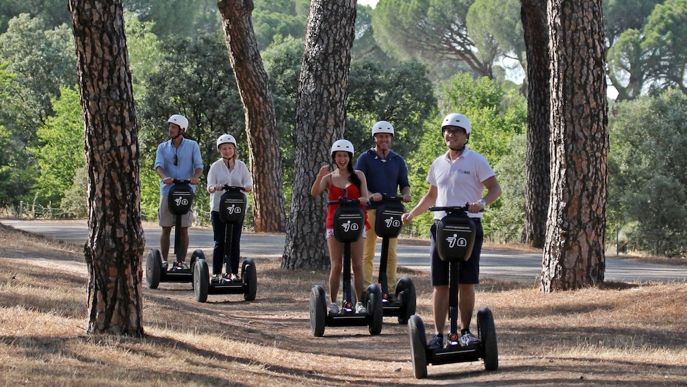 Foto 3 von 4 laden Segway group on a path through the trees in Madrid