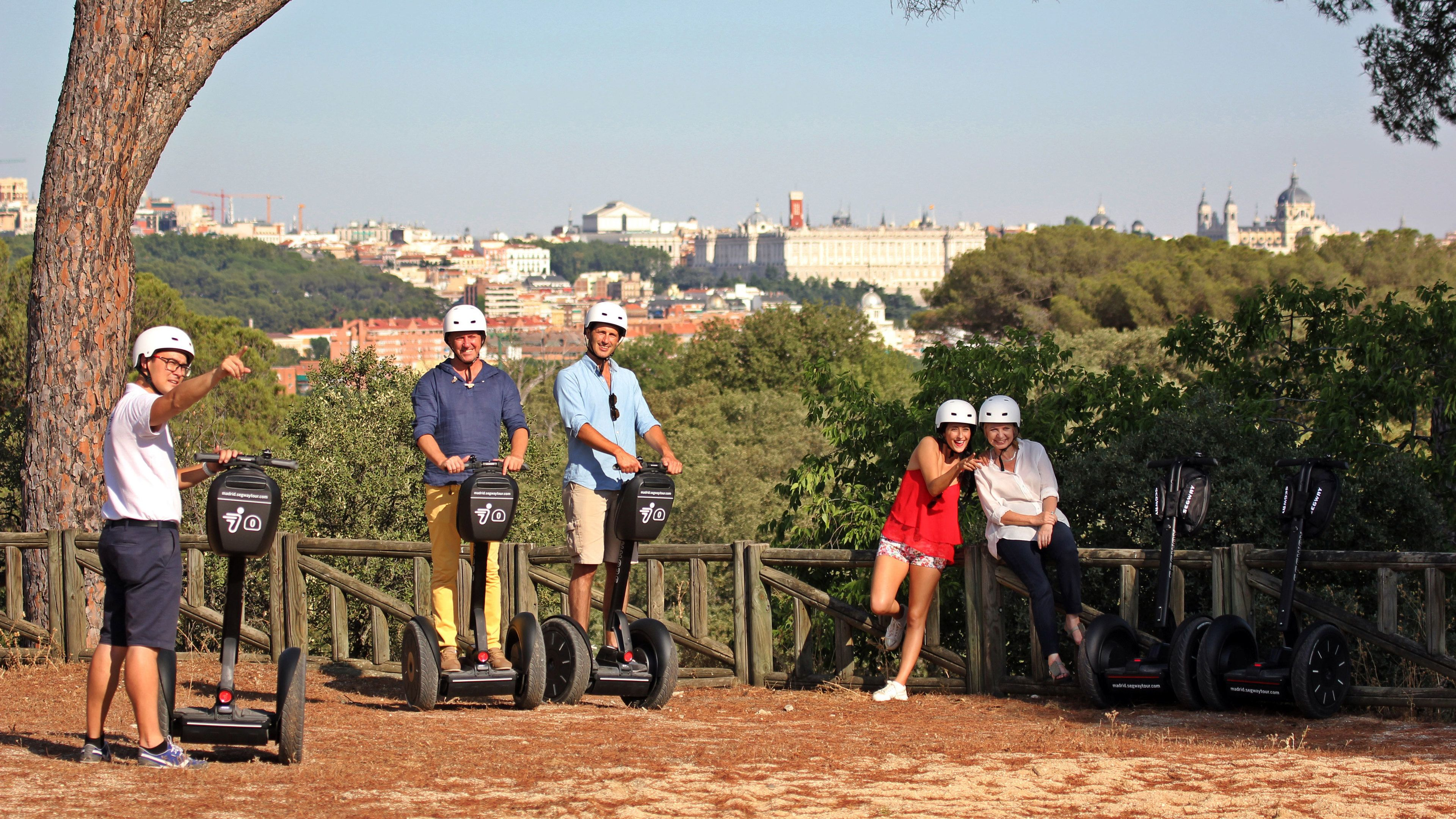 Segway group at a lookout with a view of the city in Madrid