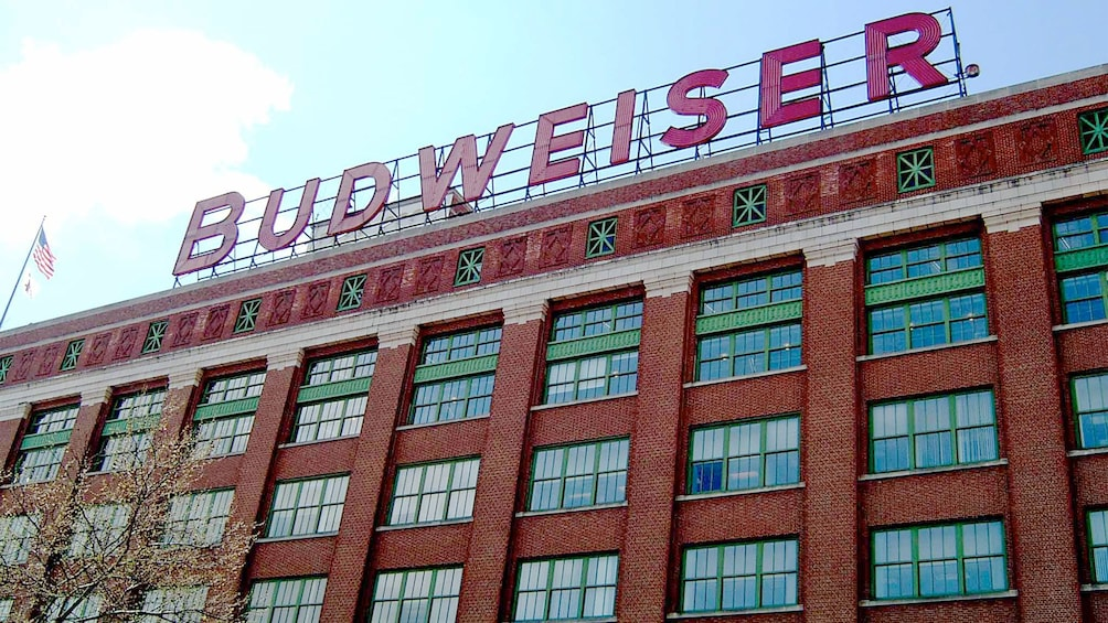 Budweiser sign on the Beer Lover's Tour in St. Louis, MO