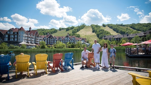 Family with beautiful lake in the background in Blue Mountain
