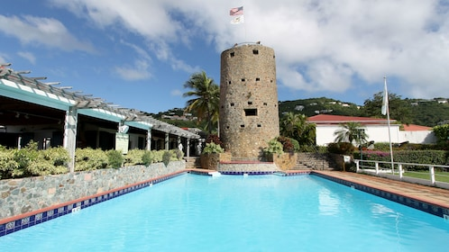 Pool and stone tower at Blackbeard's Castle in St Thomas