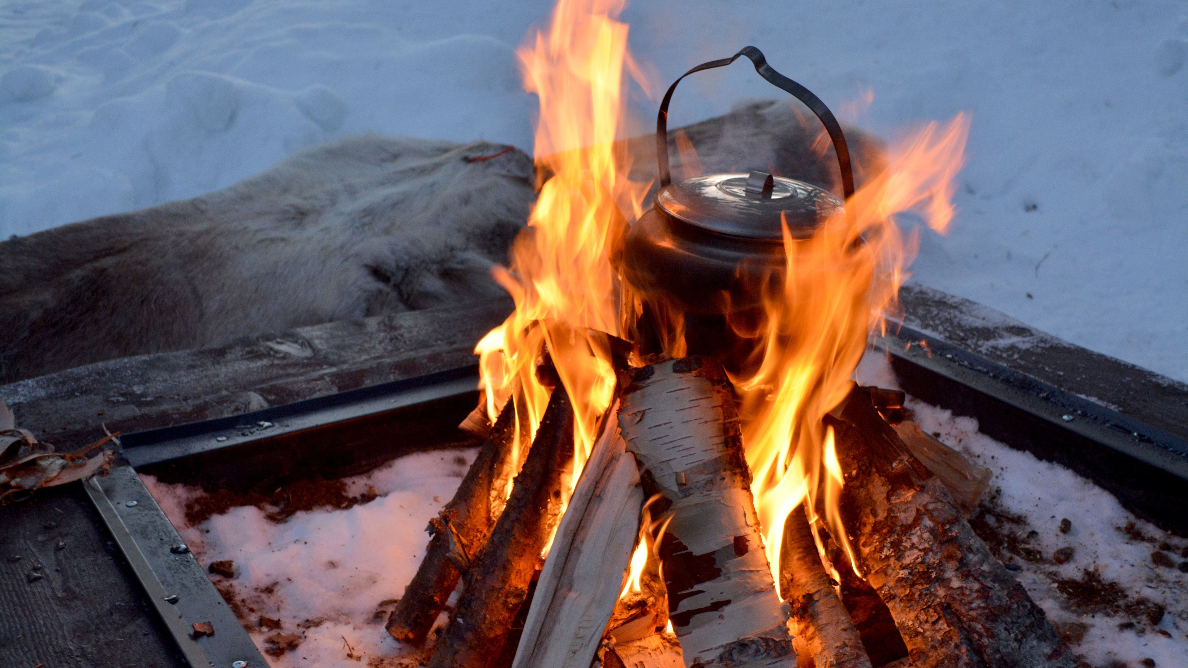 Campfire in the snow in Stockholm