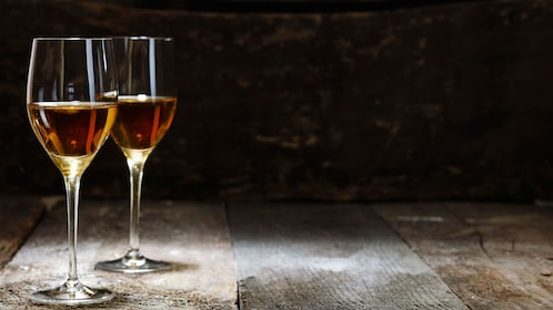 Two glasses of sherry for tasting in Malaga
