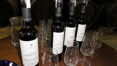 Bottles of sherry in Malaga