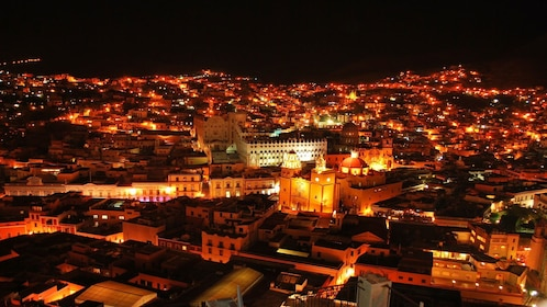Ariel view of the city of Guanajuato at night