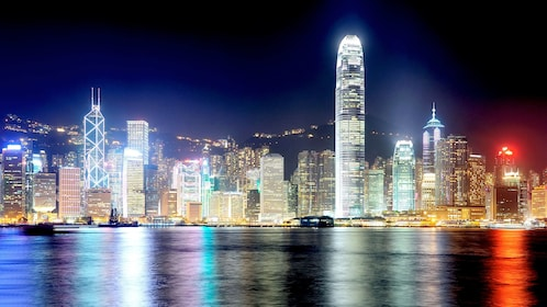 Vibrant city lights on the Hong Kong City Tour with Dinner Cruise