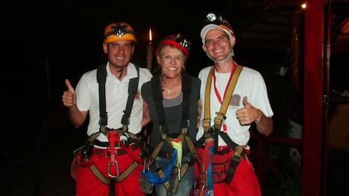 Ziplining group at night in Costa Rica