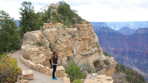 Woman on Bright Angel Trail at the Grand Canyon