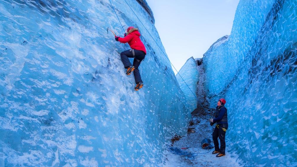 Hiking group on a glacier