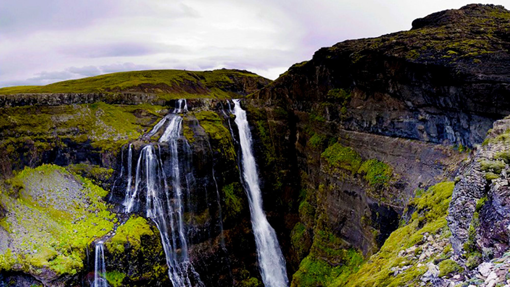 Mountain waterfall in Iceland
