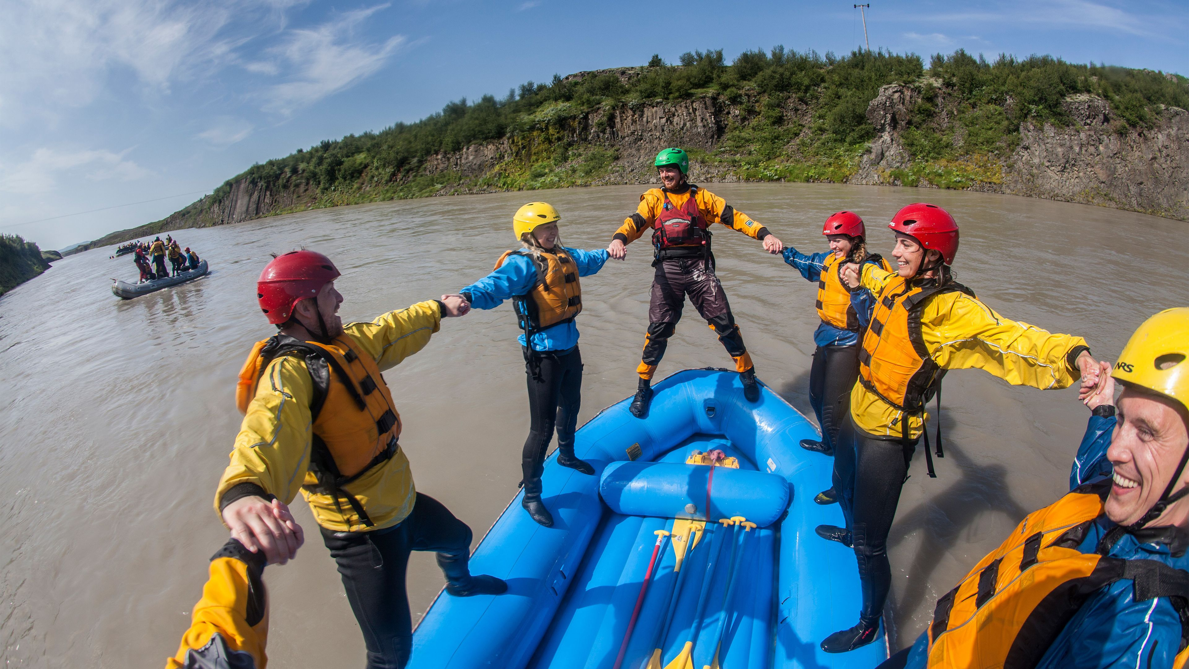 Group on a rafting adventure at Gullfoss Canyon in southwest Iceland