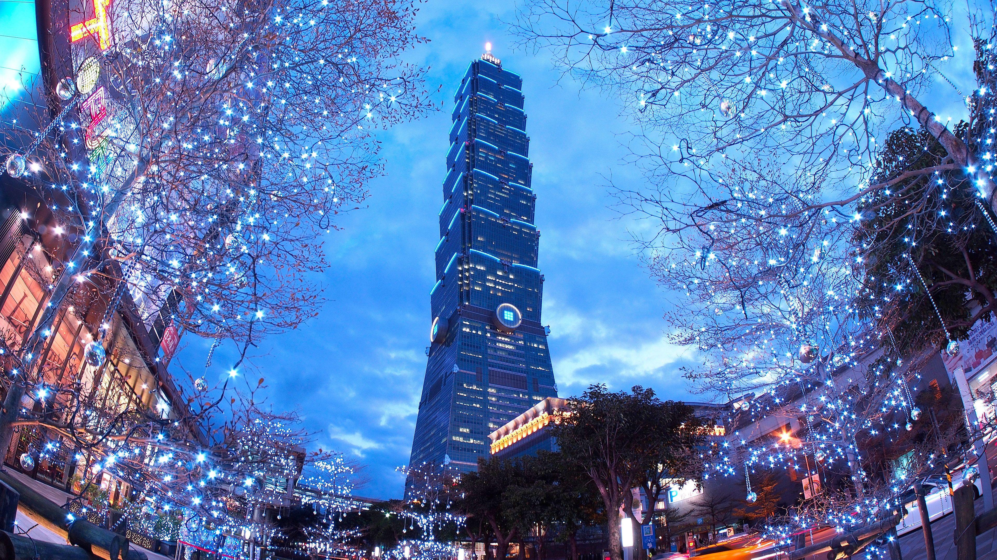 View of Taipei 101 from the ground in Taipei.