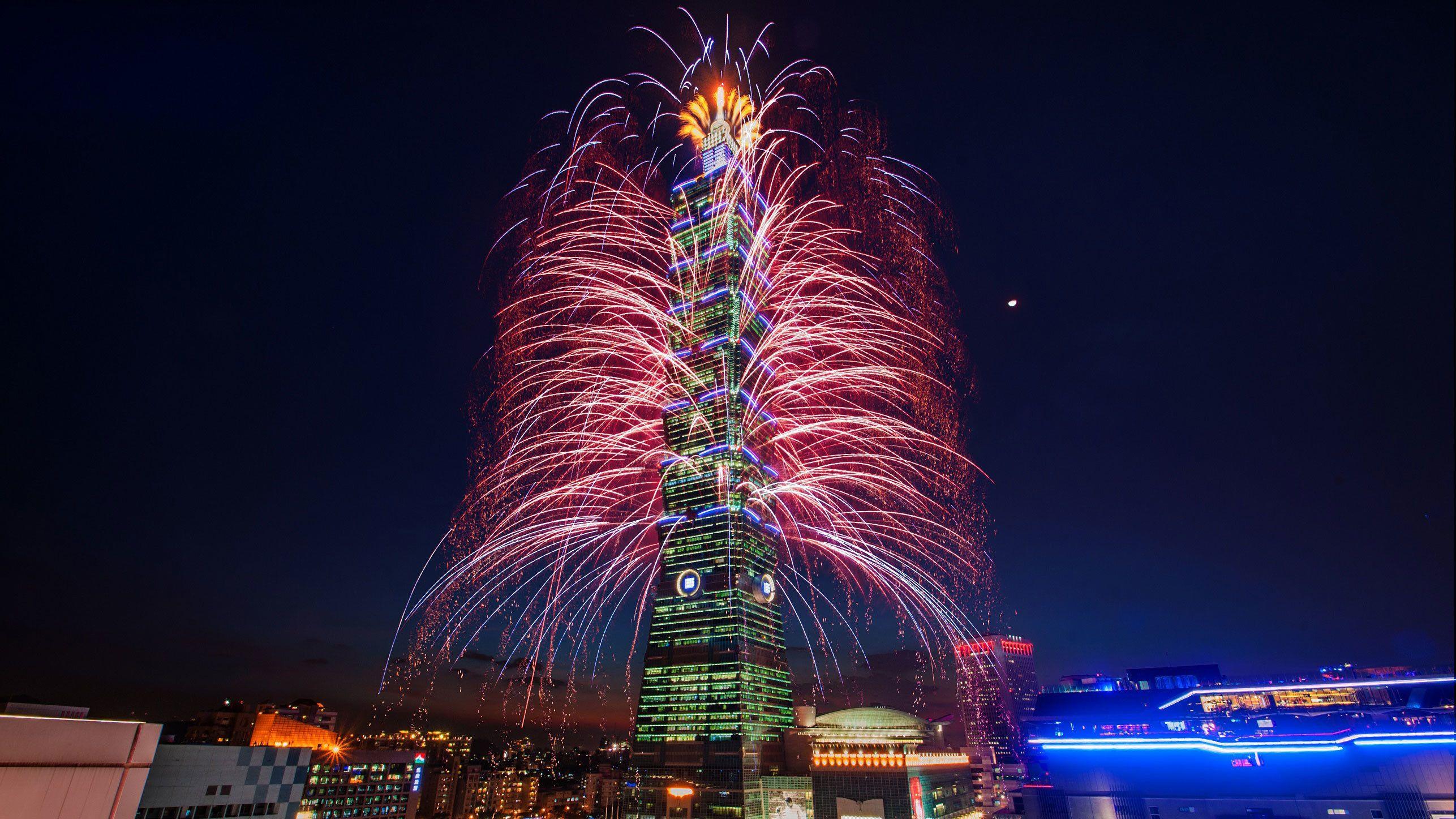 Firework display on Taipei 101