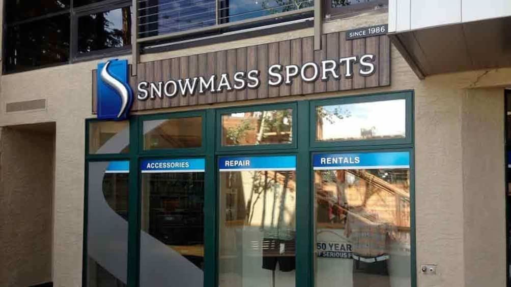 Close view of the front of the Snowmass Sports store in Colorado