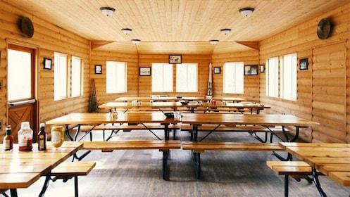Dining room in a log cabin in Alaska