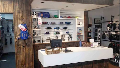 Checkout counter at Snowmass sports store in Colorado