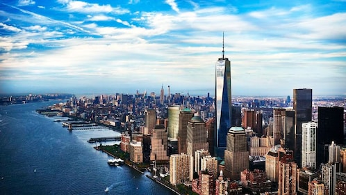 Aerial view of One World tower in New York