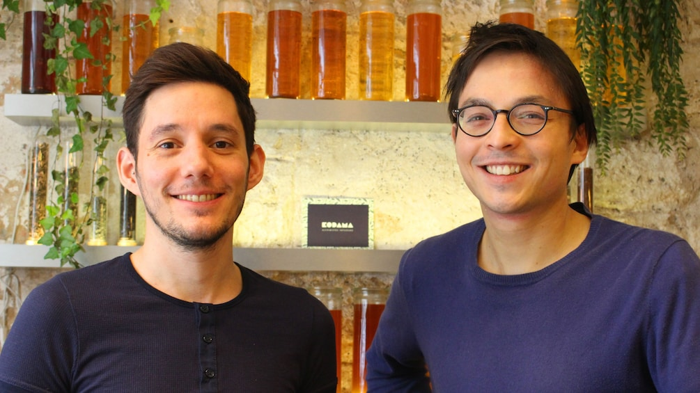 Two people in a honey store