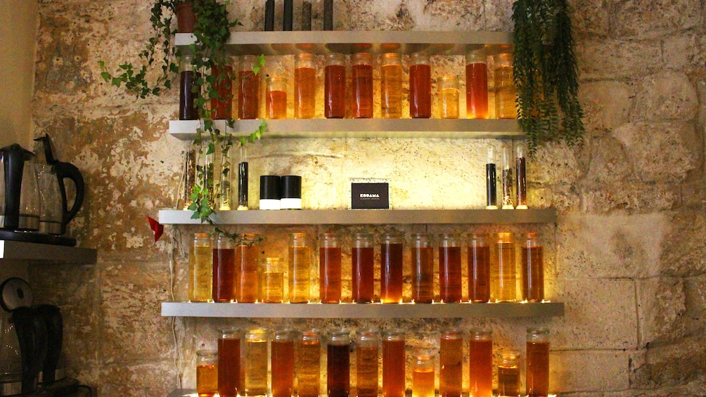 Jars of honey on the wall