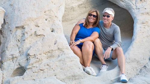 Couple enjoying the relaxing San Andreas Fault Nightwatch Jeep Tour