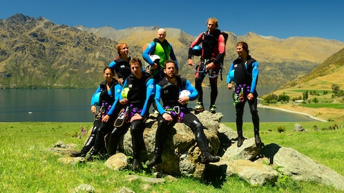Hiking group in Kawarau Canyon