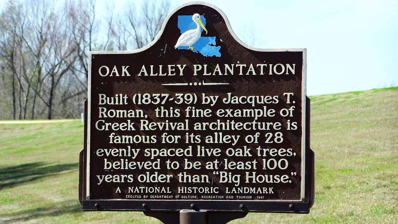 Sign detailing the history of the Oak Valley Plantation in New Orleans