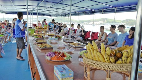 Food aboard John Gray's sea canoe in Phuket
