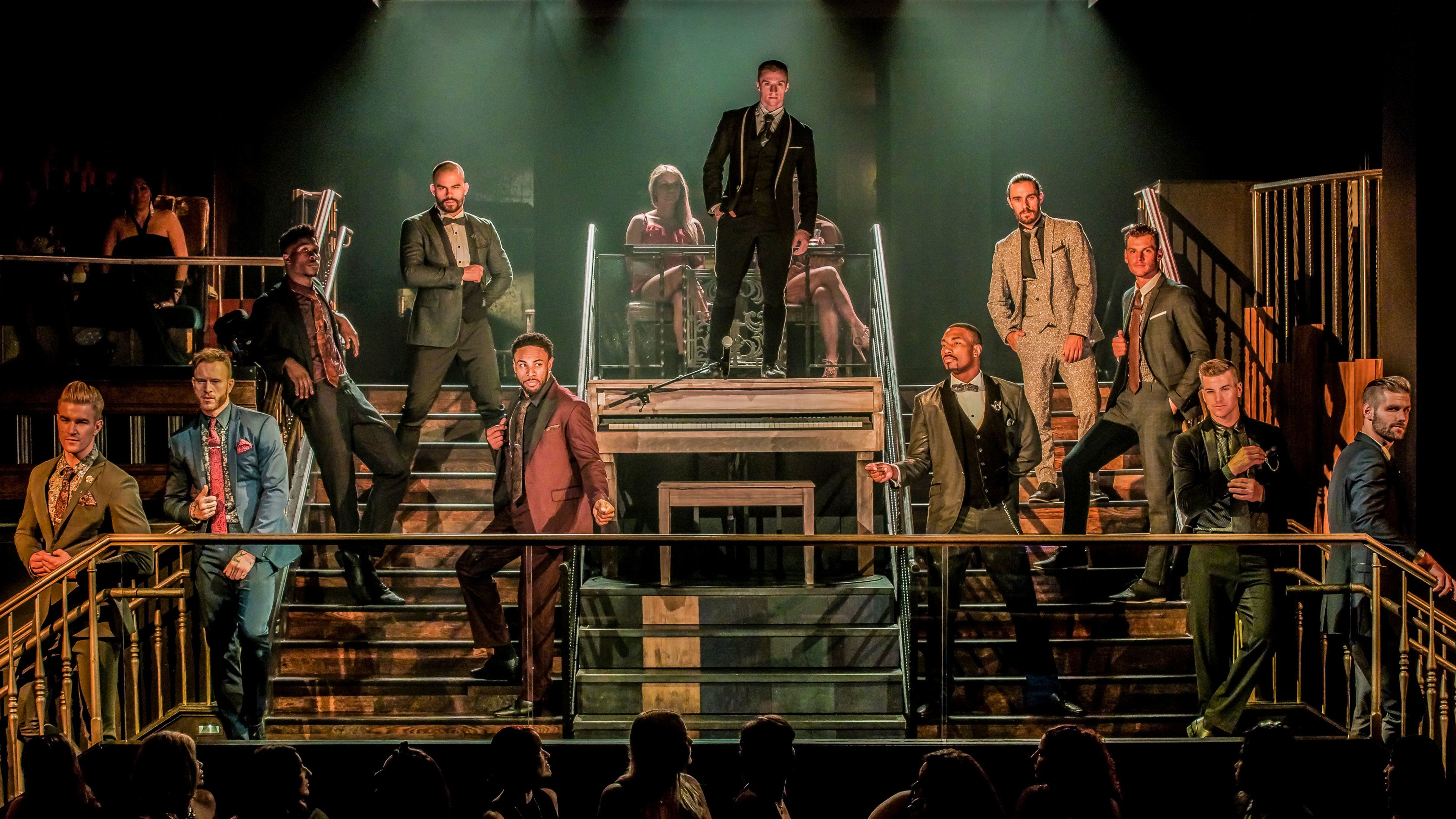 Magic Mike performers dressed in suits at beginning of show in Hard Rock Hotel & Casino Las Vegas
