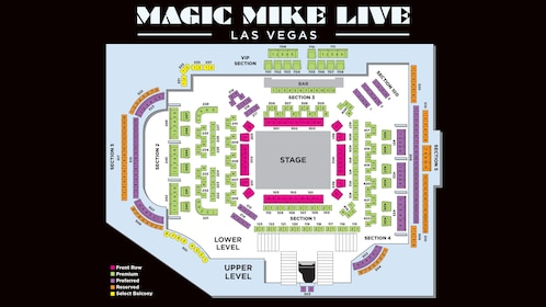 Seating chart for Magic Mike LIVE event at Hard Rock Hotel & Casino Las Vegas
